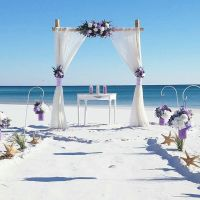 barefoot wedding, destin florida, wedding arbor