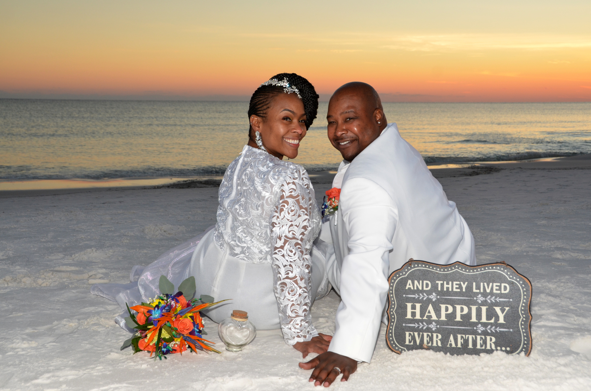 sunset beach wedding, destin, barefoot, fort walton beach