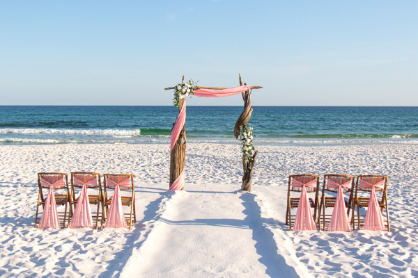 barefoot weddings, driftwood, arbor, destination