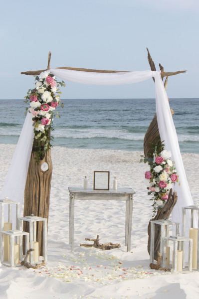 Barefoot Weddings driftwood arbor