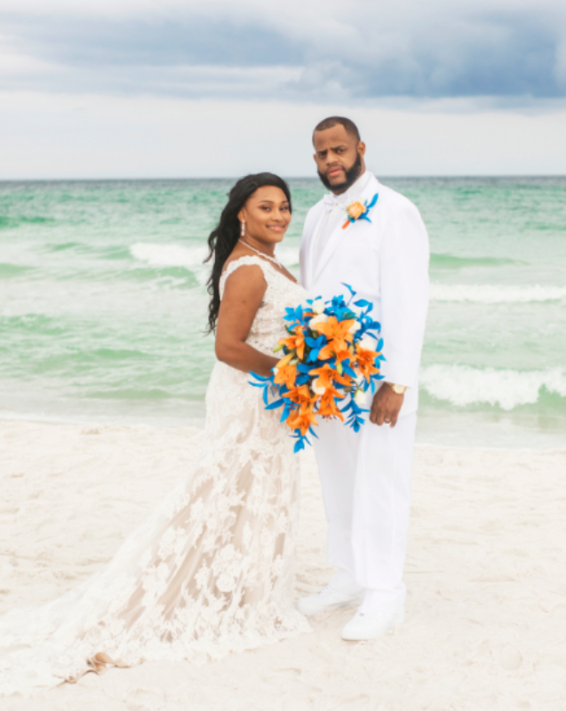 Intimate Destin barefoot beach wedding